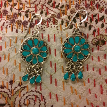Silver and Tibetan turquoise earrings, $23