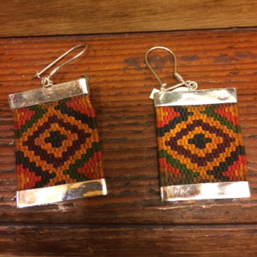 Guatemalan textile and silver earrings, $72