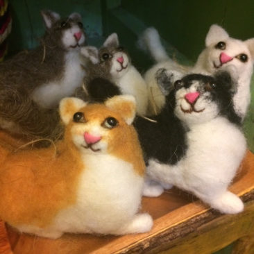 Fluffy wool felted cat ornaments, $17 each