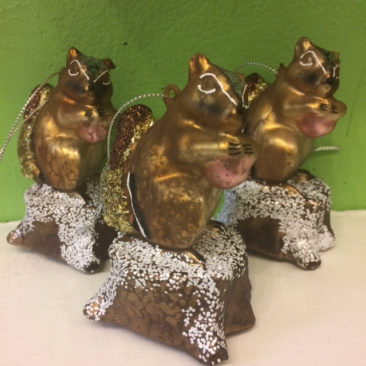 Glitter and glass squirrel ornaments, $8.50 each