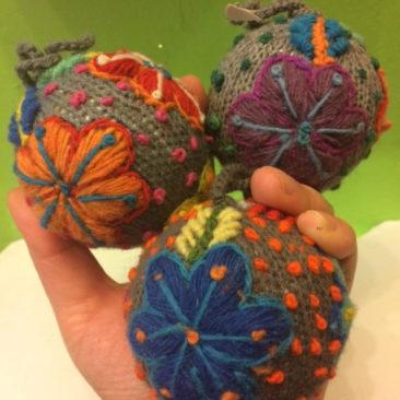 Handknit ball ornaments, $13 each