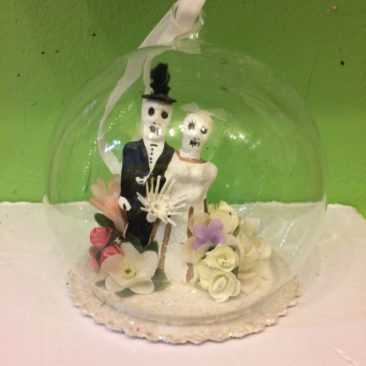 Day of the Dead wedding globe ornament, $12.50