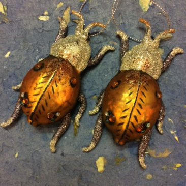 Glitter and glass bug ornaments, $16 each