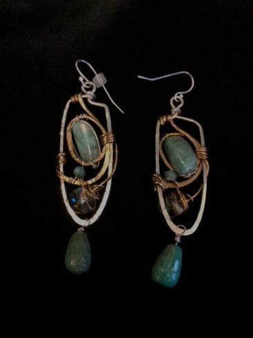 Earrings with green cuprite, $94 by ART BY ANY MEANS