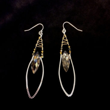 Earrings with crystals, $86 by ART BY ANY MEANS