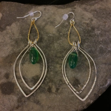 Earrings with green onyx, $79 by ART BY ANY MEANS