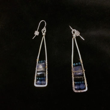 Triangular earrings with lapis and crystal, 74 by ART BY ANY MEANS