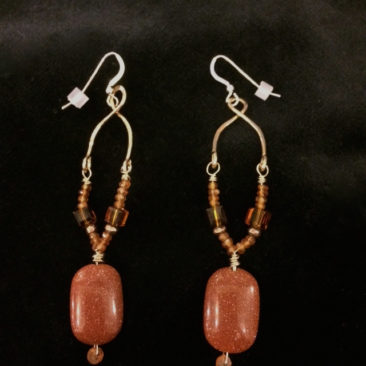 Goldstone hessonite garnet earrings,  $72 by ART BY ANY MEANS
