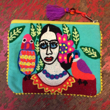 Embroidered Frida pouch, $24