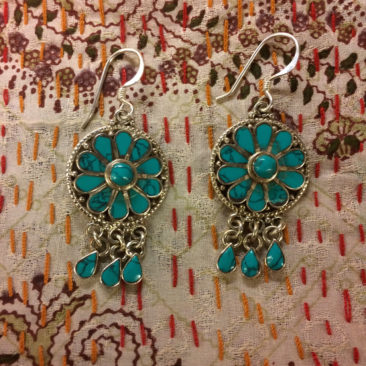Silver and Turquoise Tibetan earrings, $23
