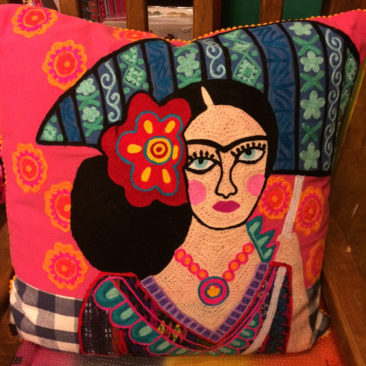 Embroidered Frida pillow, $78