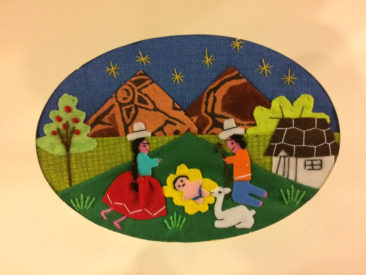 Peruvian embroidered nativity cards, $7.50