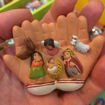 Peruvian hands ceramic nativity, $14.50