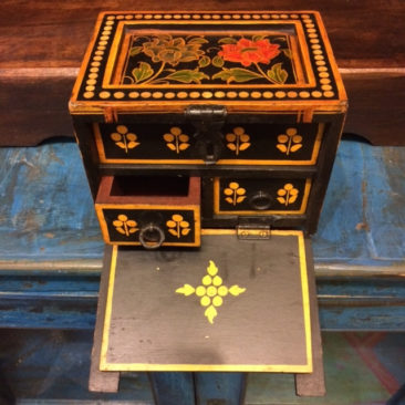 Painted wooden jewelry box, $95