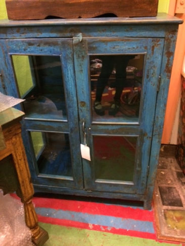 Distressed painted blue cabinet, $375