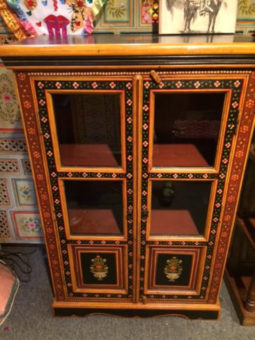 Hand painted wooden cabinet, $525