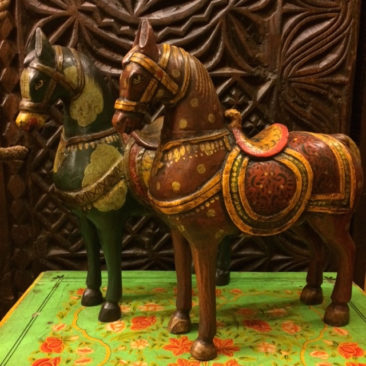 Painted wooden horses, $85 each