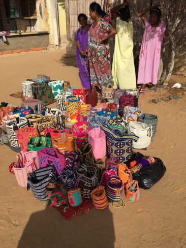 A group of mochila bags made by the Wayuu