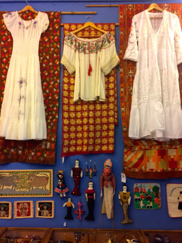 Display with Phulkari textiles. From left to right, $350, $450, $350