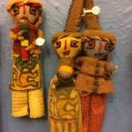 Dolls made with pre-Colombian fabrics, from left, $15 and $26