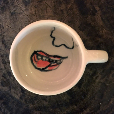 Small Mug with Nose and Mouth Drawing by Isaiah Zagar