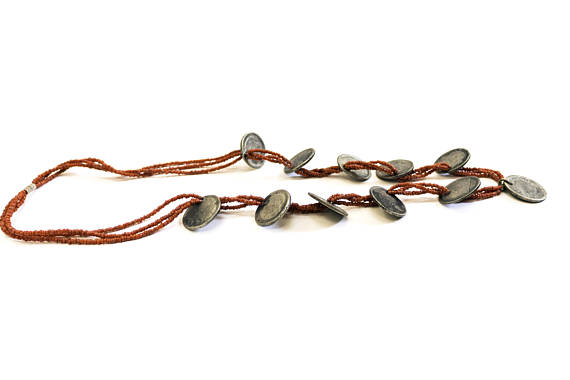 Ecuador, ecuadorian necklace, jewelry, necklace, coins, beads, seed beads, 1960's, latin america, vintage necklace, $125