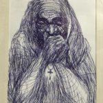 "Alonzo Humphrey, ""Mother Teresa,"" ballpoint pen on paper"