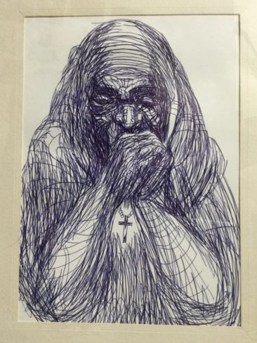 "Alonzo Humphrey, ""Mother Teresa,"" ballpoint pen on paper"