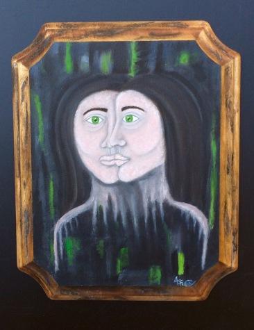 """Amanda Cello Rose, """"2Faced,"""" oil on wooden plaque"""
