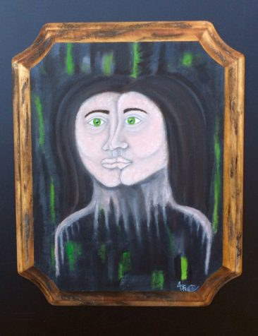 "Amanda Cello Rose, ""2Faced,"" oil on wooden plaque"