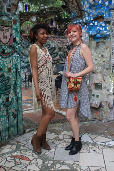 Jordan wears a cream crochet tunic, $45, with bandeau, $14.50, and a brass Balinese necklace,  $43.50. Audrey wears an embroidered collar dress by THML, $62.50, with a hand-crocheted Wayuu bag from Colombia, $38.