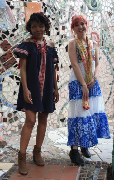 Denim ikat dress by THML, $58; vintage red bead and coin necklace from Ecuador, $154; Long peasant dress with embroidery and beadwork, $68;  Peruvian cotton scarf, $29; Turkish collar by CHANOUR, $58. Styling by Carole Shields. Models: Jordan Kauwling and Audrey Davis.