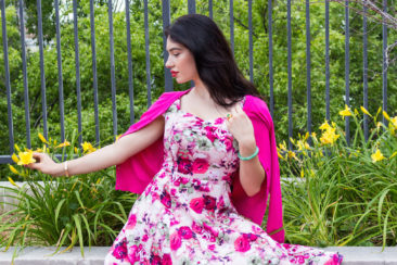 Pink floral dress, $60, and hot pink cardigan, $29 by HEARTS & ROSES.