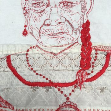 Ornella Ridone, Unttiled, embroidery floss on vintage garment