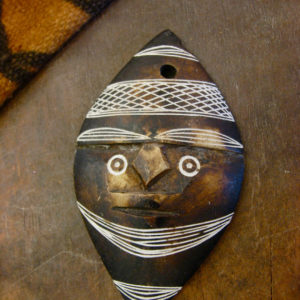 african pendant, pendant, african, ghana, african art, carved stone, tribal, world art, simple pattern, 1980's, brown and white, primitive pendant, tribal necklace, $25