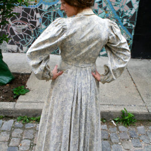 vintage, vintage dress, dress, 1800s, victorian, white paisley, prairie dress, $487