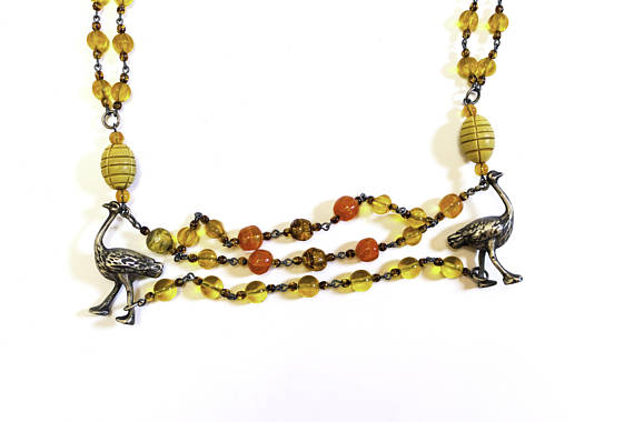 necklace, guatemala, silver, czech glass beads, ostrich, chacal, $240
