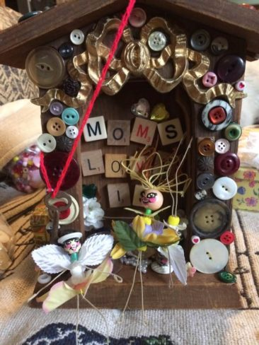 "Valerie Velvet, ""Mom's Love Is,"" wood and mixed media assemblage"