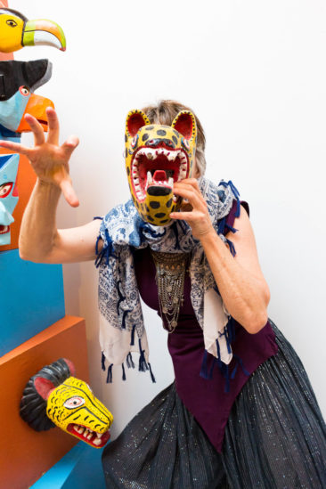 Having fun with a leopard mask. Photo by Jessica Laudicina.