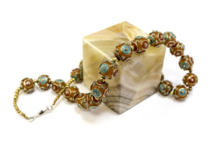 Tibetan turquoise and coral beaded necklace, $75. Photo by Jessica Laudicina.