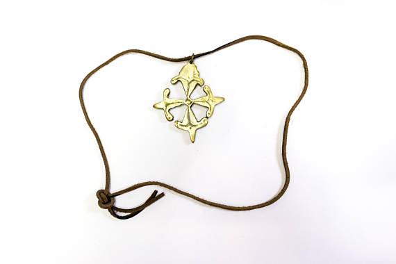 africa, african pendant, brass pendant, primitive pendant, tribal pendant, rustic, rustic brass, rare, leather, mali, $90