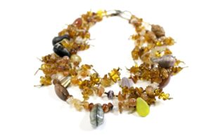 Multicolored, layered amber necklace, $250