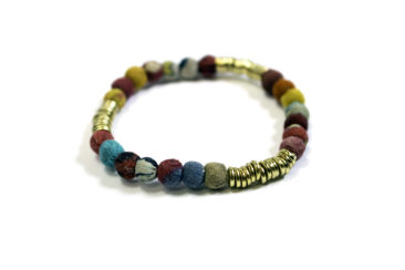 Fiber and gold beaded bracelet, $10. Photo by Jessica Laudicina.