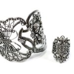 Winged insect and flower cuff, $86.50; French filigree ring, $62.50. Photo by Jessica Laudicina.