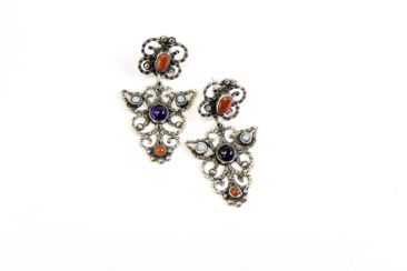 Sterling silver Mexican earrings with gemstones, $163