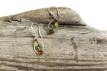 Multicolored amber and silver earrings, $38. Photo by Jessica Laudicina.