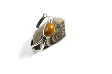 Amber and silver bracelet, $156