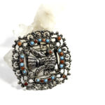 Sterling silver Mexican bird pin with turquoise and coral, $438