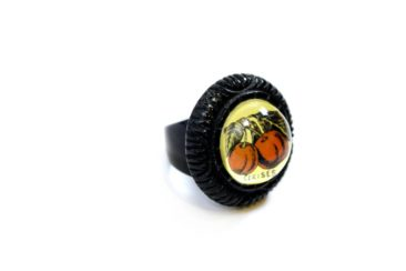 Black bubble ring with cherries by HOTCAKES DESIGN, $43.50. Photo by Jessica Laudicina.