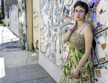 Green sundress w/ pink flower print by ANGIE, $29; Pink flower bead and enamal bracelet, $42; Pink flower bead and crystal necklace by COLEEN TOLAND, $62.50; Pink crystal rose drop earrings  by BELLA DONNA, $36. Photo by Patty Lauren.  Makeup by Ana Trainor. Styling by Carole Shields. Model: Jessica Laudicina.